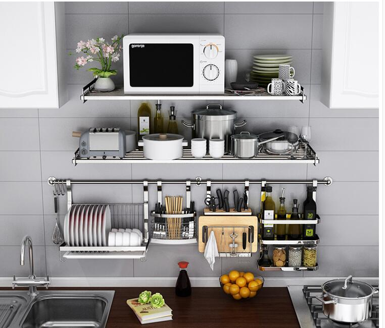 304 Stainless Steel Dapur Rak Dinding Dipasang Dinding Microwave Oven Dinding Dari Listrik Rice Cooker Oven Menerima Shelf 006 Rack Wall The Shelfsteel Kitchen Racks Aliexpress