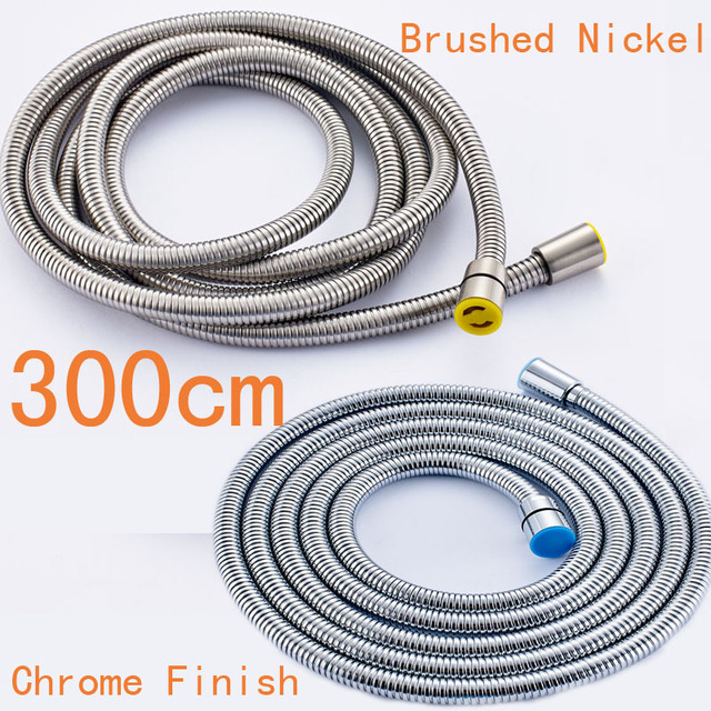Chrome/Brushed Nickel Bathroom Shower Hose 300cm Stainless Steel ShowerPipe Handheld Shower Pipe Shower Faucet Accessory