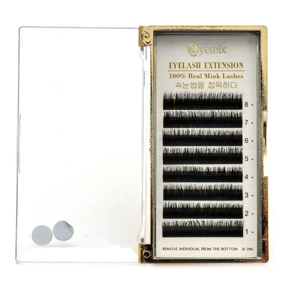 100% Réel Fourrure De Vison Cils Individuels Extension 1 pcs/lot Mélanger 6 Longueur 8mm-13mm B C curl livraison Gratuite