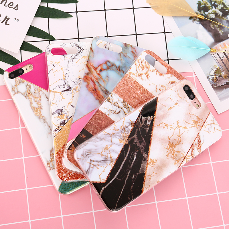 Colorful Marble Phone Case for iPhone 8 iPhone 6 Plus Case Glossy Soft Back Cover for iPhone X iPhone 5 5C SE 6s 7 8 Plus Case