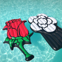 Giant Inflatable Red White Rose Pool Float Swimming Ring Inflatable Flower Air Mattress Beach Mat Summer Water Fun Toys,HA107