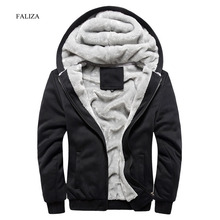 FALIZA 2017 Winter Thicken Hoodie Men Zipper Hooded Coat Brand Mens Tracksuit Sweatshirt Solid Color Thick Warm Plus size Hoodie
