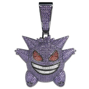 Image 3 - TOPGRILLZ Super Big Gengar Iced Out Pendant Necklace Mens With 12mm Cuban Chain Hip Hop Gold Silver Plated Charms Chain Jewelry