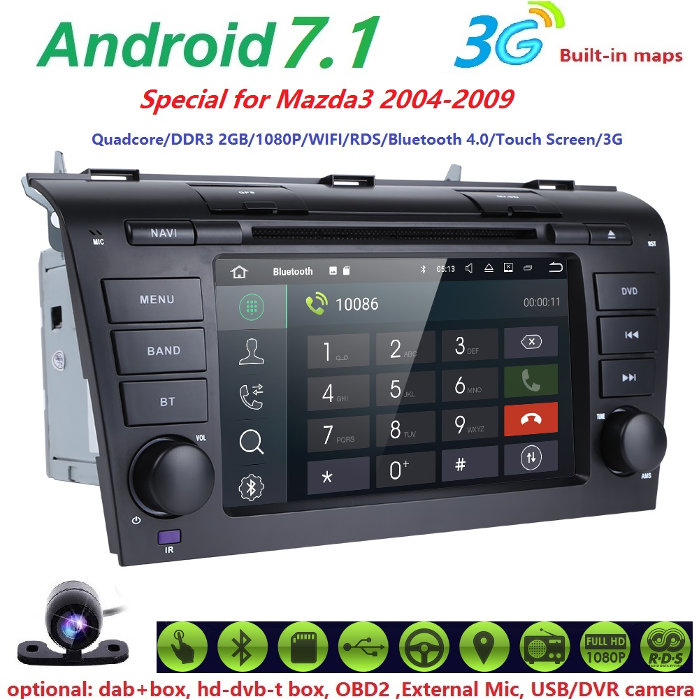 AutoRadio 2 din Android 7.1 Car Audio Tape Recoder For MAZDA 3 MAZDA3 2004 2005 2006 2007 2008 2009 Car DVD palyer 2GRAM 4G WIFI