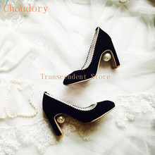 Choudory Grey Black Red Genuine Leather Women Pumps Pearl Chunky Heel Fashion Square Toe Pumps Bead Women Wedding Party Shoes