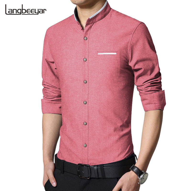 New Fashion Casual Men Shirt Long Sleeve Mandarin Collar