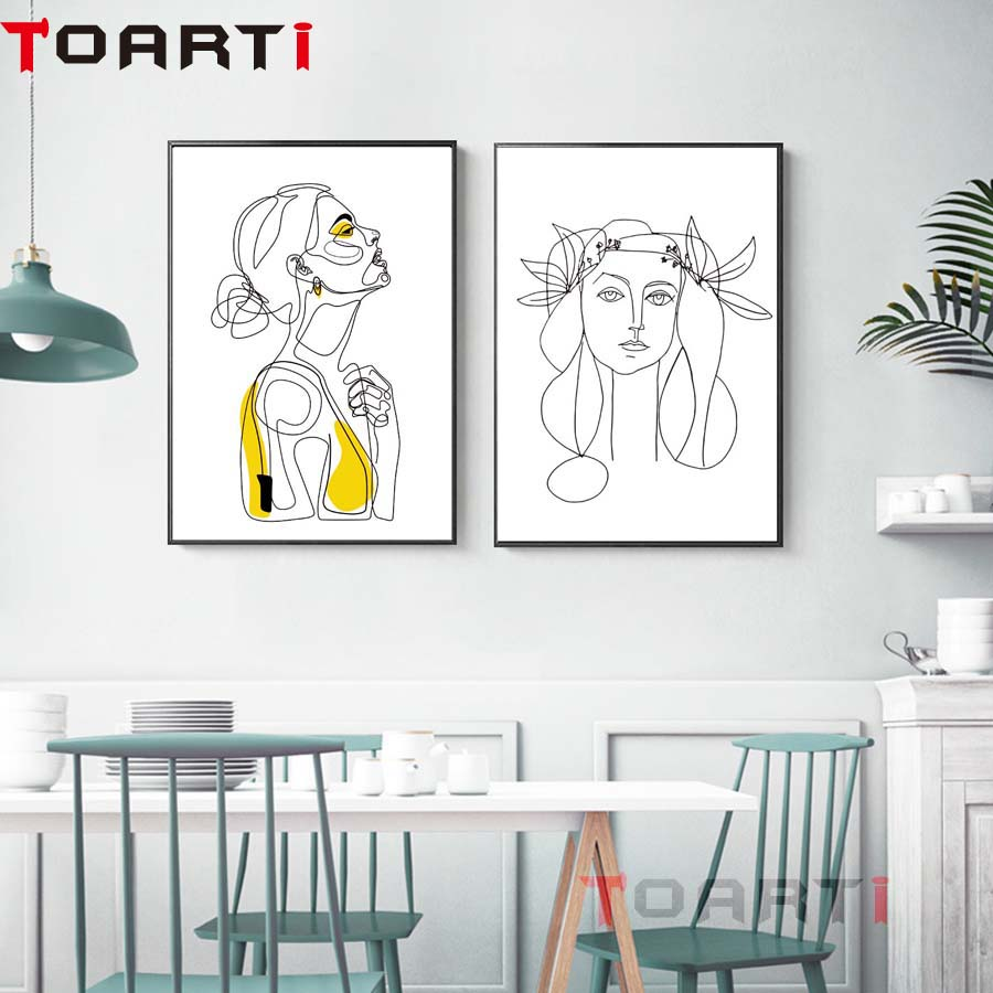 Abstract Women Line Drawing Nordic Poster&prints Modern Canvas Painting Wall Art Minimalist Wall Picture For Bedroom Home Decor