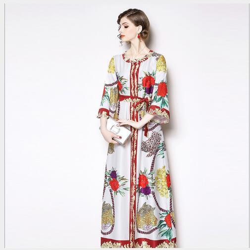 Larga White Vestido Outwear Mujeres Sección Vintage Slim Correa O Manga De Primavera La Corte Las Femenino Moda cuello Nuevo 2019 Impresión gq0qR