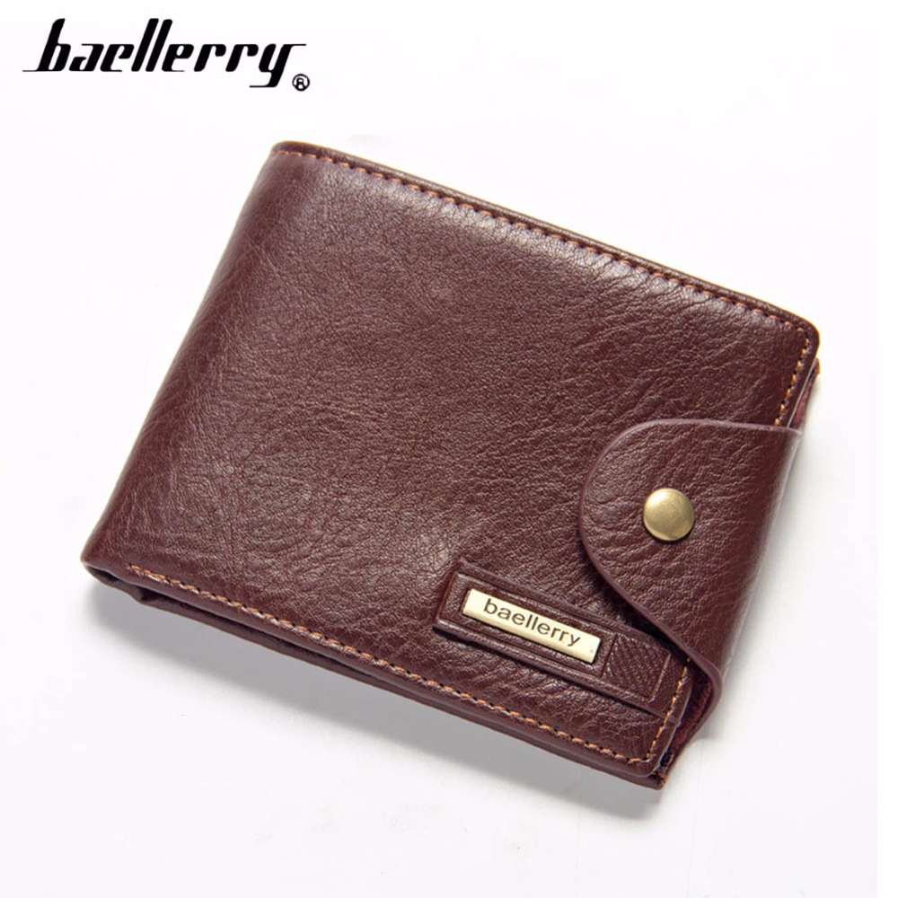 2018 baellerry Men Wallets PU Leather Short Desigh Brown Card Holder High Quality Male Purse Vintage Coin Holder Men Wallets baellerry pu leather men wallets zipper coin pocket sample solid male purse card holder high quality man purse cartera