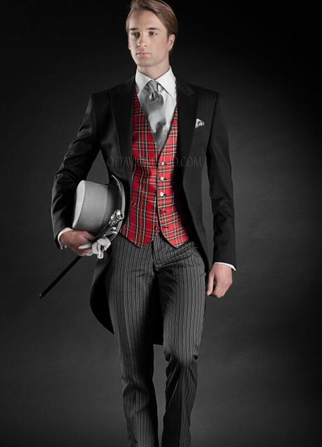 Latest Coat Pant Designs Italian Black And Red Tailcoat Stripe Formal Custom Wedding Suit For Men