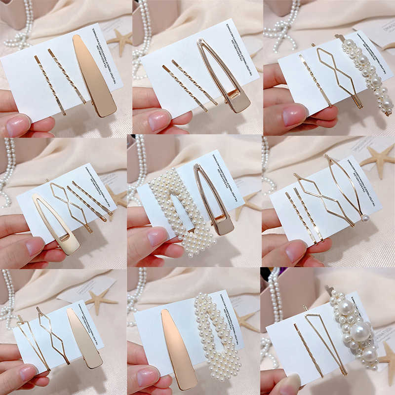 3pcs/set Korea Fashion Metal Hairpins Imitiation Pearl Hair Clips for Women Irregular Geometric Hair Accessories