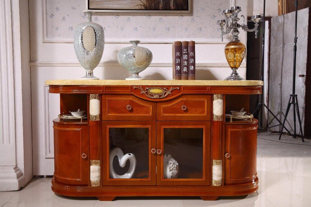 Dessus en marbre de tiroir de stockage d'armoire de côté de table de console en bois fait dans des meubles de salon de porcelaine