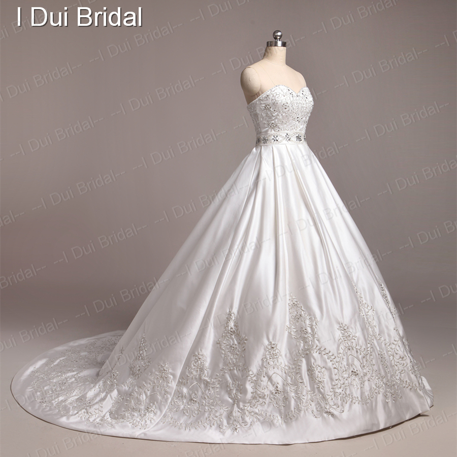 Embroidery Glass Crystal Beaded Luxury Ball Gown Wedding Dress ...