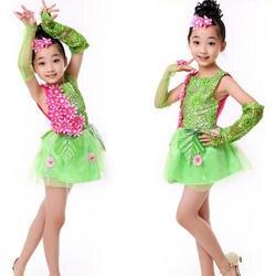 Блестками зеленый Обувь для девочек Современный Джаз танцевальная одежда платье Дети Костюмы для бальных танцев хип-хоп партия Танцы