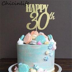 Chicinlife 1 шт Золотой счастливый 30th 40th 50th 60th торт Топпер Взрослый День рождения Свадьба годовщина товары для украшения торта
