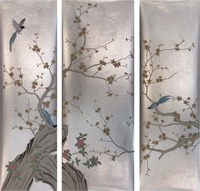 Classic style elegant Hand painted silver foil wallpaper painting flowers with birds many patterns and background optional