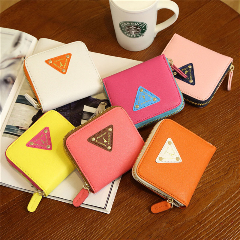 2017 High Quality Brand Candy Color PU Leather Wallet Women Fashion Triangle Decorate Short Wallet Women PU Coin Purse moana maui high quality pu short wallet purse with button