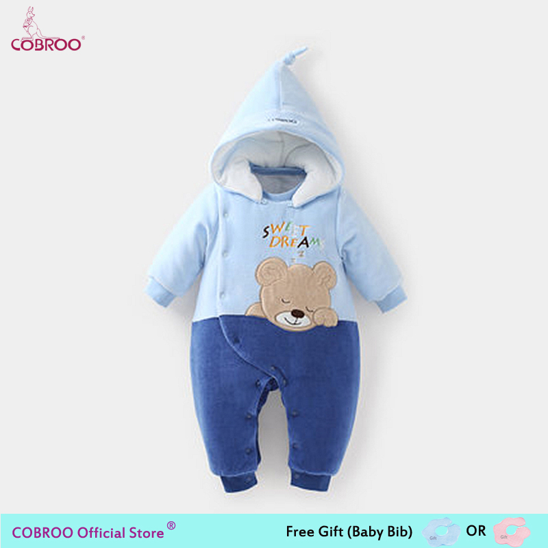 COBROO Newborn Baby Romper Winter 2018 100% Cotton 0-6 Month Infant Clothes Baby Girl Boy Jumpsuit Hooded Kid Outerwear 750017 spring baby romper infant boy bear romper newborn hooded animal clothes toddler cute panda romper kid girl jumpsuit baby costume
