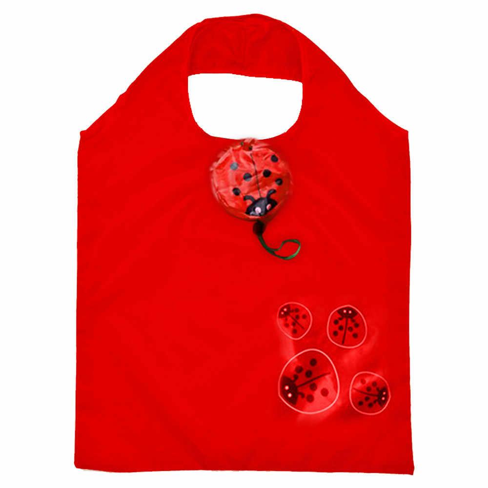 אופנה חמוד בעלי החיים הדפסת קניות תיק הגנת הסביבה תיק מתקפל לשימוש חוזר מתקפל Tote עמיד למים אחסון תיק авоськ