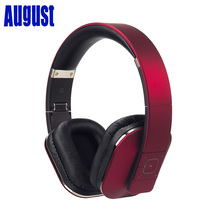 August EP650 - Bluetooth Headphones with 3.5mm Audio In Wireless or Wired Stereo Headset NFC Tap to Connect Red