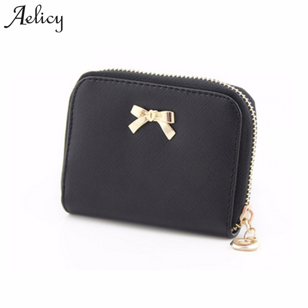 Aelicy Fashion Lovely Purse Clutch Women Wallets Short Small Bag PU Leather Card Holder Women Bowknot Zipper Coin Purse