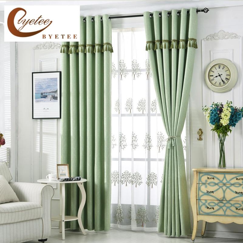 {byetee} Mūsdienu dzīvojamās istabas aizkars guļamistabas zaļajam aizsprostam aizkariem Guļamistabas auduma aizkaru virtuves durvju aizkari