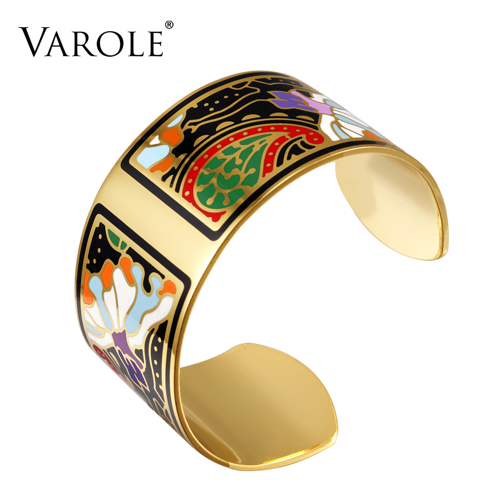 VAROLE Fashion Wide Bracelet Bangle Color Design Pattern Opening Bracelet for Women Mother Enamel Gold Bracelets Jonc Pulseras fashion rose pattern wide bracelet w crystal golden