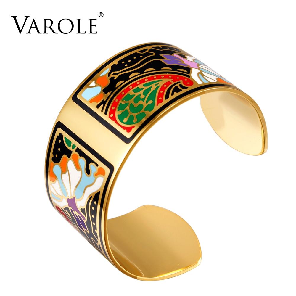 VAROLE Fashion Wide Bracelet Bangle Color Design Pattern Opening Bracelet for Women Mother Enamel Gold Bracelets Jonc Pulseras varole fashion enamel opening bracelets