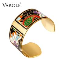 VAROLE Mode Large Bracelet Bracelet Couleur Conception Motif Ouverture Bracelet pour Femmes Mère Émail Or Bracelets Jonc Pulseras