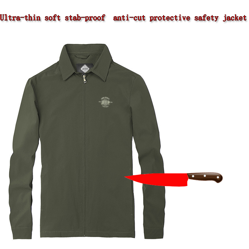 Stab-resistant Anti-cut Soft Stealth Men's Jacket, Long-sleeved  Flexible Armor Military Tactical Safety Protective Clothing New
