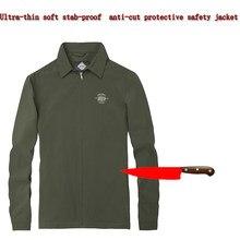 Stab-resistente anti-corte macio discrição jaqueta dos homens, longo-sleeved armadura flexível militar tático de segurança vestuário de protecção Novo