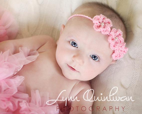 Flor Diadema para beb Fotografa proposicin beb Flor de la venda