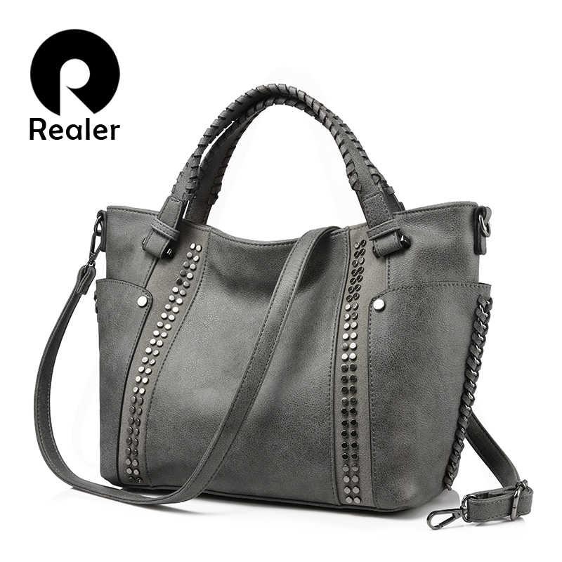95a0e6330ef5 REALER бренд стильная женская сумка в руках высокого качества с короткими  ручками, большая ручная сумка