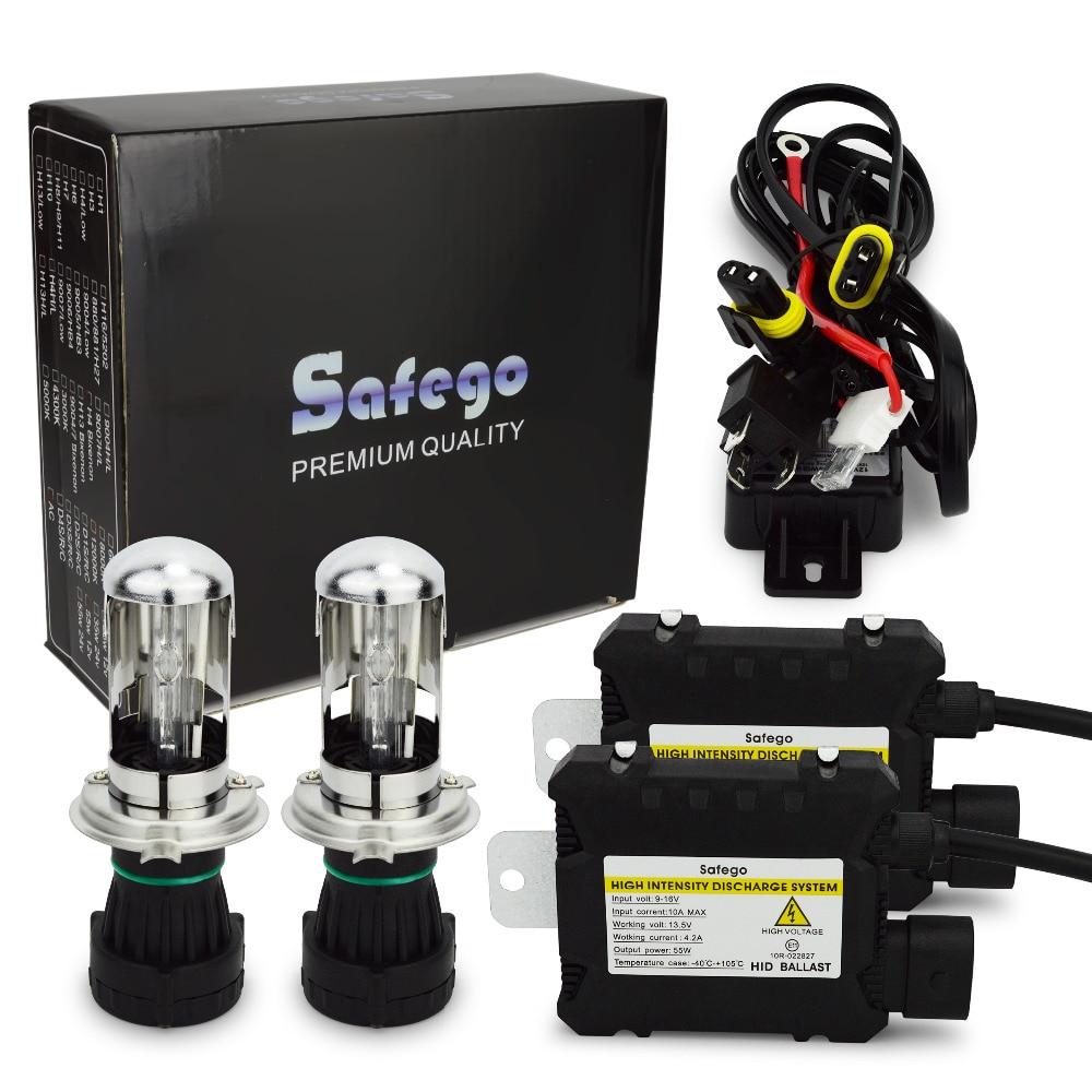 Safego Bi xenon 55w HID kit h4 6000k 8000K 4300K DC 12V 35W hid xenon kit h4-3 h13-3 9004-3 9007-3 hid kit h4 bixenon car light source 12v 35w h4 xenon h4 3 h13 h13 3 9004 9004 3 9007 hid hi lo bixenon 4300k 5000k 6000k 8000k h4 bi xenon kit