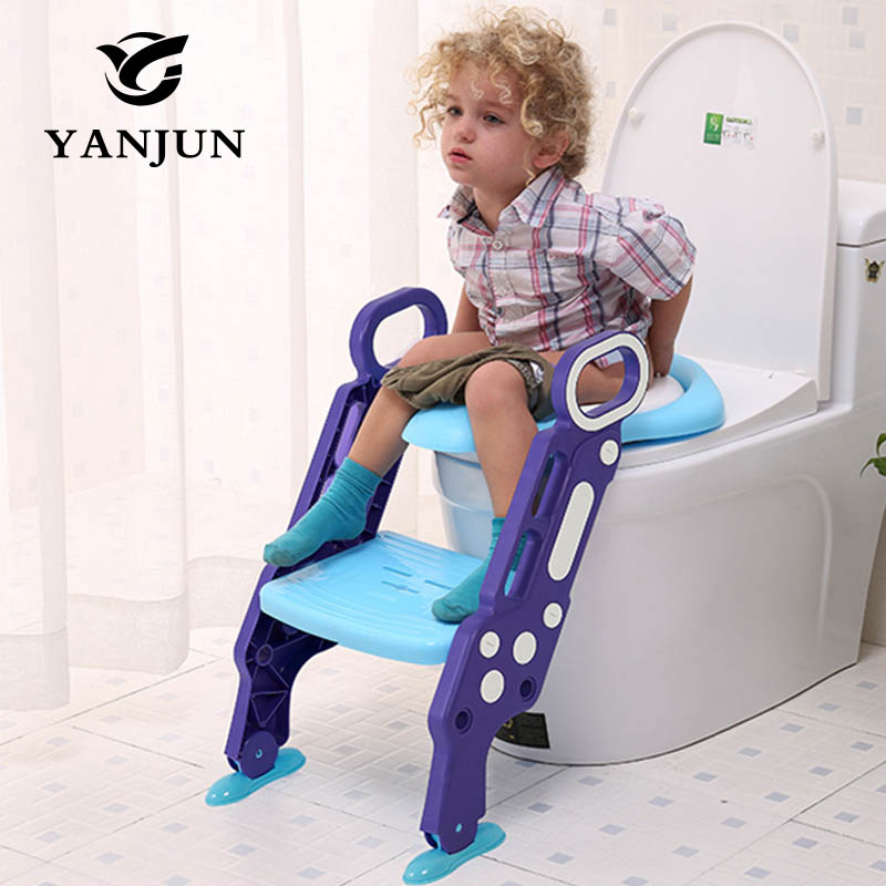 YANJUN Baby Children Kids Potty Seat With Ladder Cover Toilet Folding Chair Pee Training Urinal Seating Potties YJ-2080 children baby toilet seat ladder folding chair pee baby toilet safety penico potty ring step ladder stable seat training urinal