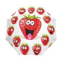 Custom Lovely Cartoon Fruit Strawberry Umbrella Three Folding Automatic Rain Umbrella Creative Cute Child Gift Umbrellas