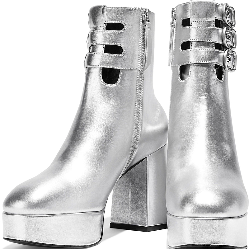 silver_metallic_platform_boots_tri_buckles_chunky_heel_ankle_boots_1_
