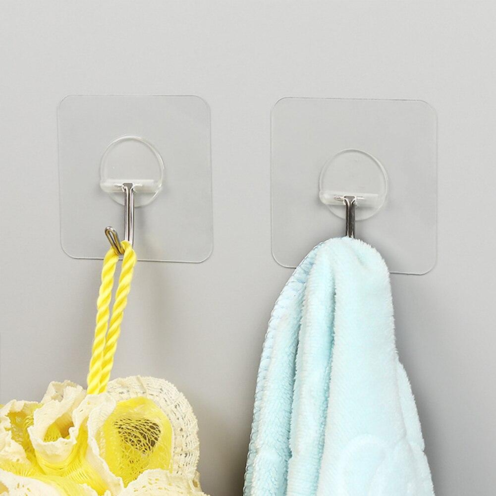 Transparent Adhesive Bathroom Towel Seamless Wall Mount Hanger Waterproof Utility Hook