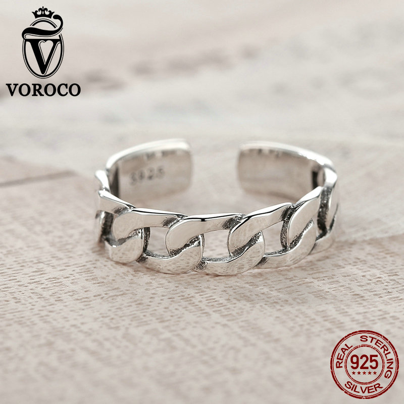 VOROCO  Simple Strackable Twine Chain Pattern Rings Cuff Open Adjustable 925 Sterling Silver Ring for Woman Fine Jewelry VSR036 Кольцо