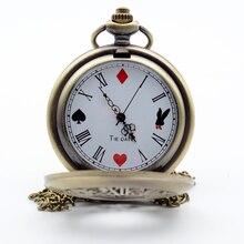 Алиса в стране чудес пишущий кролик и ключ римские цифры и покер циферблат кварцевые карманные часы Аналоговые в виде кулона ожерелье для мужчин и женщин