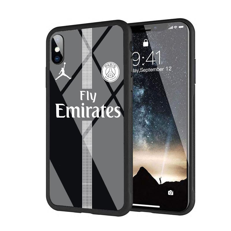 new concept 14443 4a2cf Fly PSG Paris Football Jersey Jordan 23 Neymar Black Silicone Edge Tempered  Glass Back Case For iphone 8 6S 7Plus XS XR MAX
