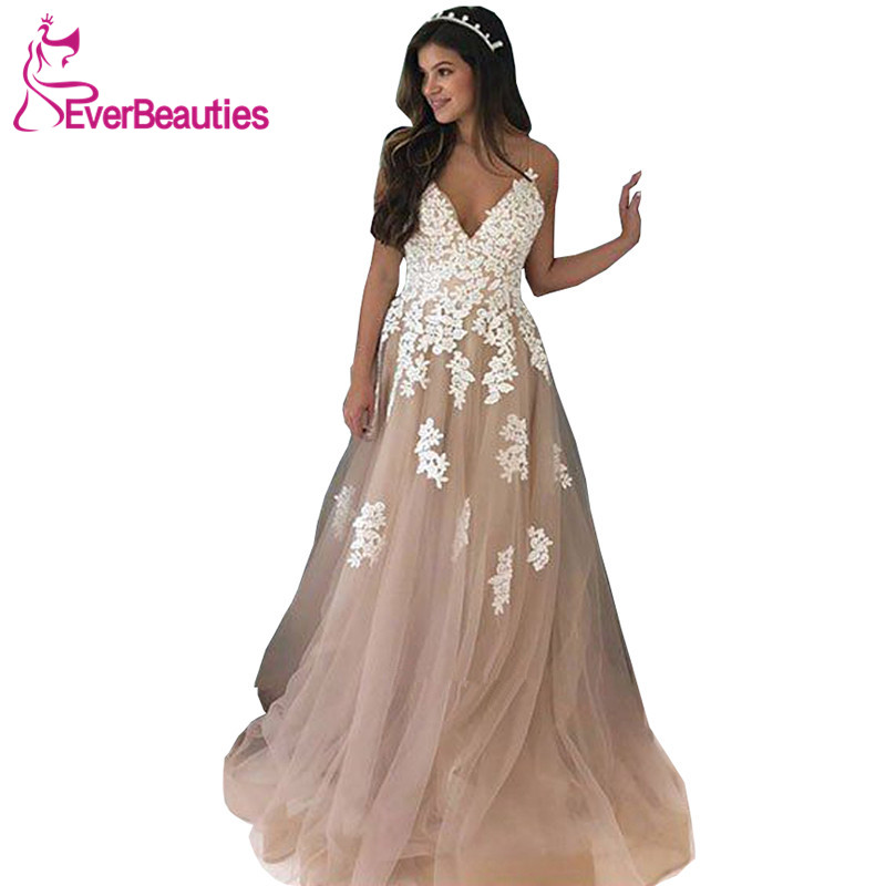 Robe De Soiree   Evening     Dresses   Long 2019 Tulle Appliques Party Gowns Long   Dresses     Evening   Abiye Gece Elbisesi   Dress   For Party