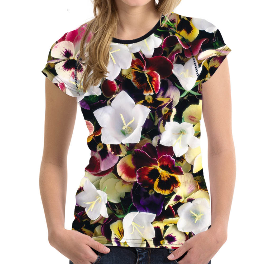 Customized t-shirt Summer Tops Tees Shirt Women Cloth O-Neck Fragrance pink T shirt Lotus Flower Female tshirt Casual Fitness