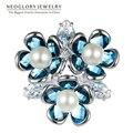 Neoglory flor broche regalo para la novia austria cristal perla simulada joyería de moda marca 2017 nuevos regalos sqc