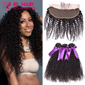 7A Mongolian kinky curly virgin hair with closure 13*4 ear to ear lace frontal closure with bundles human hair with closure soft