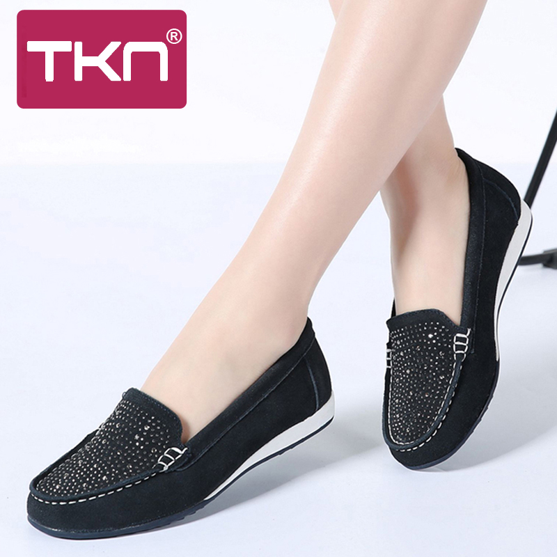 TKN 2019 spring women loafers flats shoes   leather     suede   slip on ballet flats ladies loafers casual shoes women moccasins K22
