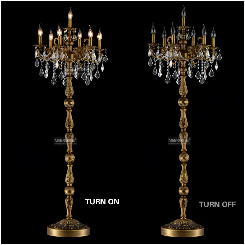 classic 7 lights crystal floor lamp floor stand light fixture cristal lustre candelabra standing lamp cheap floor lighting