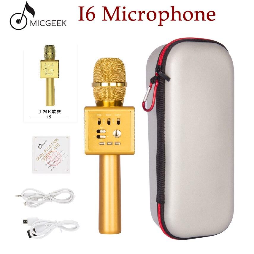 D'origine Micgeek I6 Sans Fil Karaoké Microphone Bluetooth KTV Professionnel Voix Changer Double Haut-Parleur En Métal Microphones