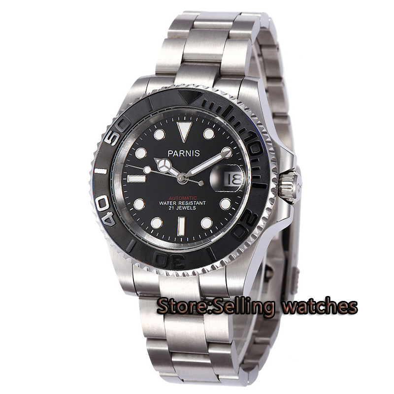 лучшая цена 40mm Parnis black dial luminous Sapphire glass black ceramic bezel MIYOTA Automatic movement Men's watch
