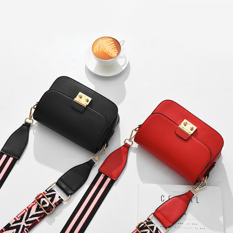 Luxury Handbags Multicolor Wide Shoulder Strap Bag Messenger Bags Brand  Women Designer Female Gold Buckle Small Crossbody Bags-in Shoulder Bags  from Luggage ... 85ee810f14